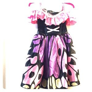 Pink Butterfly Girls Dress,with wings & headband